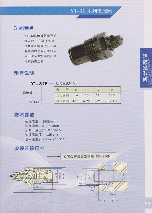 Y1-32系列溢流阀